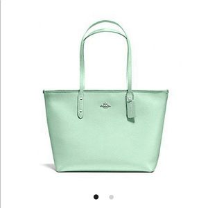Authentic Coach City Zip tote in Seaglass
